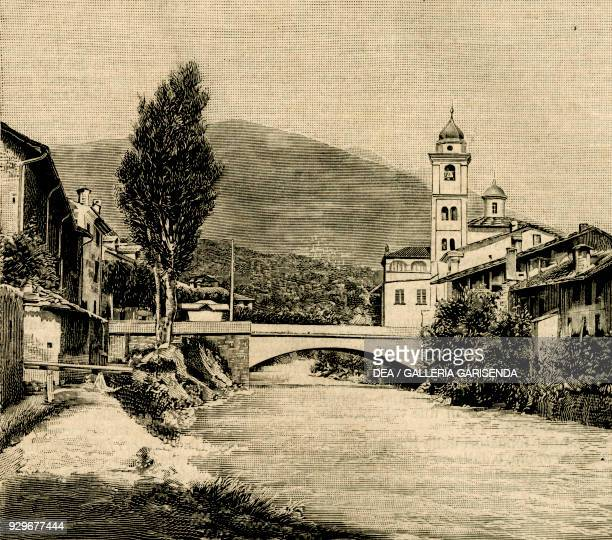 Bridge over the Dora Riparia river and church of Saint Mary Susa Piedmont Italy woodcut from Le cento citta d'Italia illustrated monthly supplement...