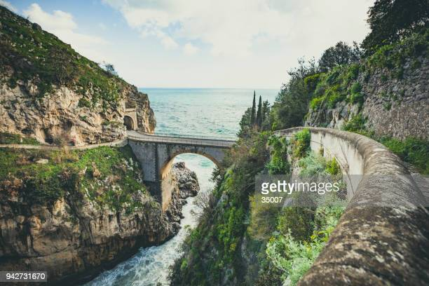 bridge over the fjord of furore, amalfi coast, italy