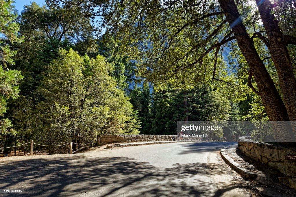 Bridge over the Merced River in Yosemite Valley, California : Stock Photo