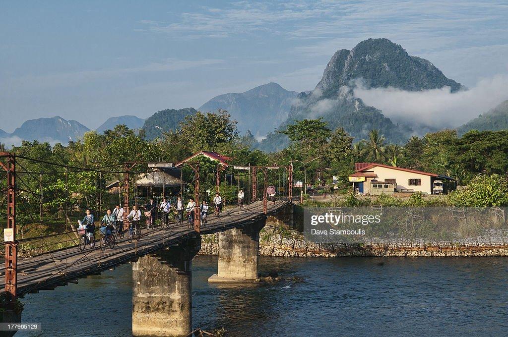 bridge over the Nam Song River in Vang Vieng, Laos : News Photo