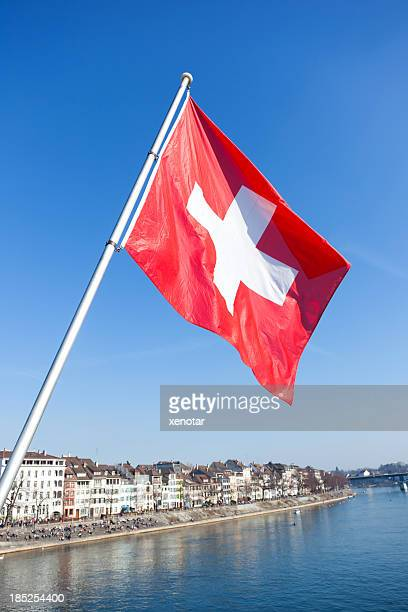 Bridge over the river Rhine and Swiss Flag