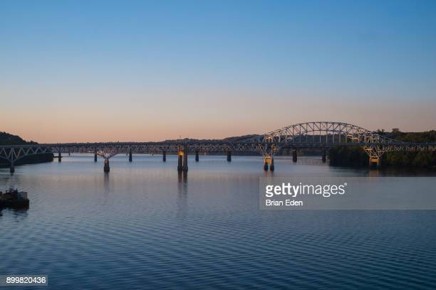 a bridge over the susquehanna river in havre de grace, maryland - chesapeake bay stock pictures, royalty-free photos & images