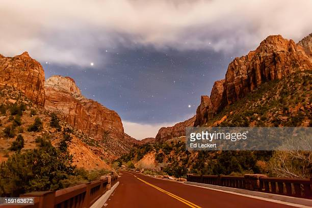 bridge over the virgin river by moonlight - leckert stock pictures, royalty-free photos & images