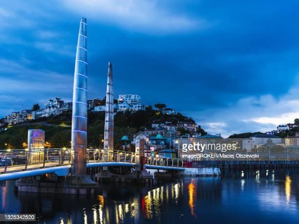 bridge over torquay marina, torquay, devon, england, united kingdom - torquay,_victoria stock pictures, royalty-free photos & images