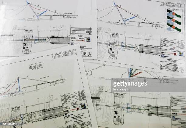 Bridge plans are displayed in a briefing room as the final 100 metre centrepiece of Sunderland's new River Wear crossing is lifted into place on...