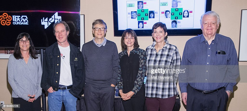 Bridge Players Sheri Winestock, Fred Gitelman, Bill Gates, Sharon Osberg, Jill Meyers and Bob Hamman pose for a photo before playing the first live Yeh Online Bridge World Cup at Silver Cloud Hotel on October 31, 2016 in Seattle, Washington.