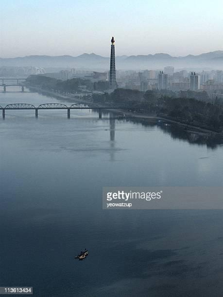 bridge, pyongyang, north korea - pyongyang stock-fotos und bilder