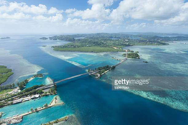 Bridge, reef and islands from above, Palau