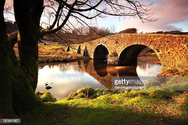 Bridge reflecting in river