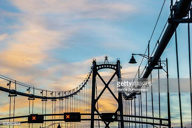 Bridge silhouette at sunset; Vancouver, British Columbia, Canada