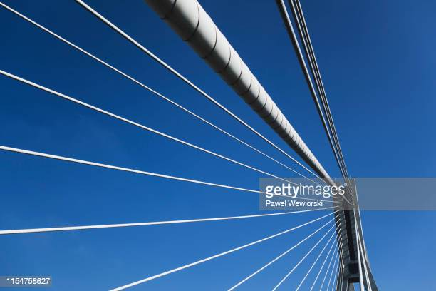 bridge span with cables - suspension bridge stock pictures, royalty-free photos & images