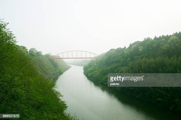 bridge spanning a river running through a forest, chiba prefecture, japan - chiba prefecture stock pictures, royalty-free photos & images