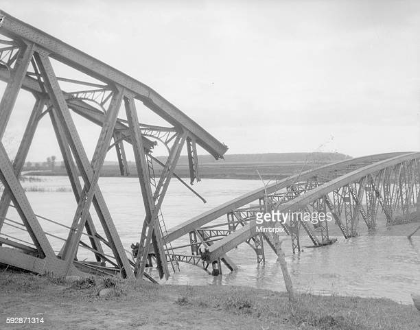 Bridge spanning the Dneister River blown up by the Austrian army during their retreat. Circa September 1914