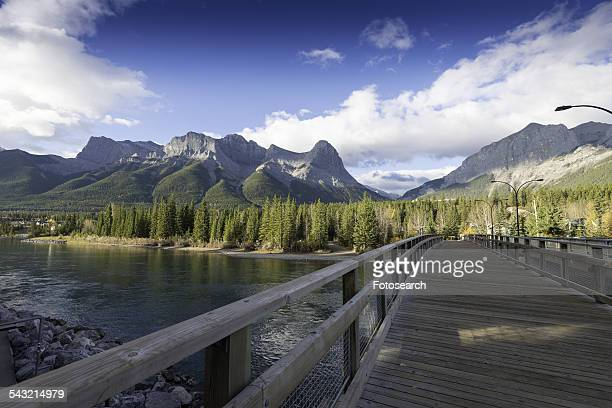 bridge to canmore - bow valley stock pictures, royalty-free photos & images