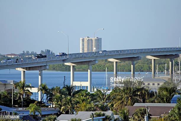 bridge to fort myers, florida. - fort myers beach stock pictures, royalty-free photos & images