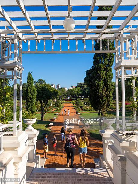 bridge to the rose garden in february 3 park - palermo buenos aires stock photos and pictures