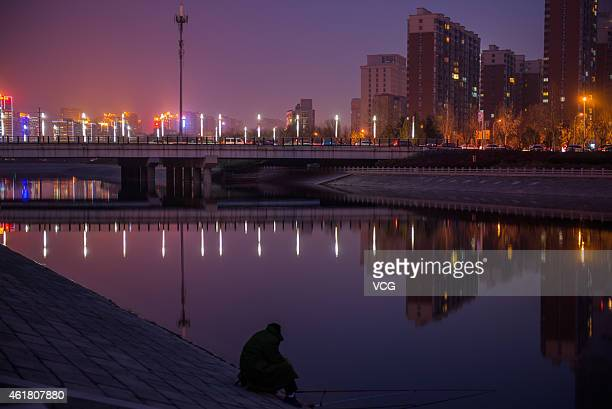 """Bridge with cigarette-like lamps is seen on January 19, 2015 in Zhengzhou, Henan province of China. """"Cigarette Bridge"""" was a name given by internet..."""