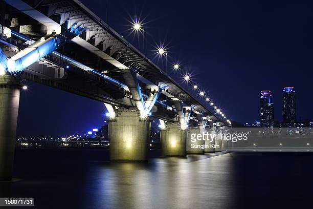 Bridge with lighting at night