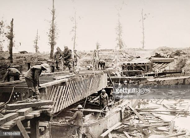 Bridgebuilding on the River Yser during an Allied advance north of Ypres during World War One circa October 1914