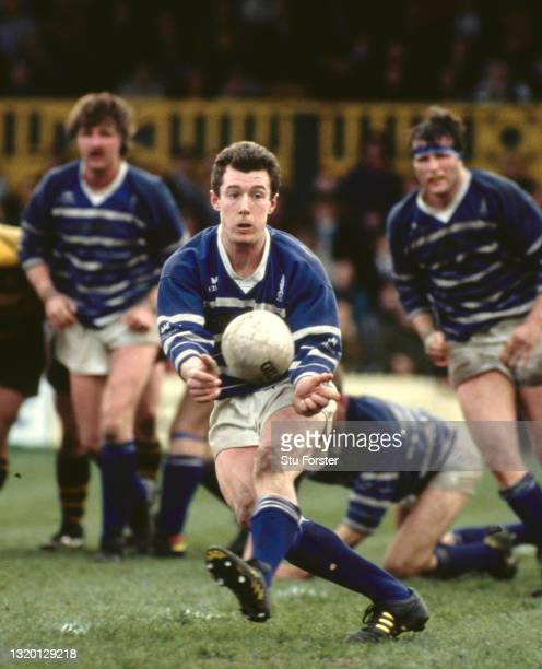 Bridgend scrum half Robert Howley in action during the WRU Cup Quarter Final against Newport at Rodney Parade on April 4, 1992 in Newport, United...