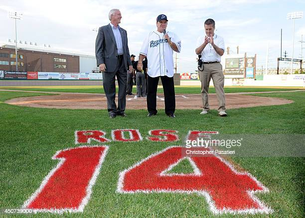Bridgeport Mayor Bill Finch and Bridgeport Bluefish General Manager Ken Shephard stand with former Major League Baseball player Pete Rose as he...
