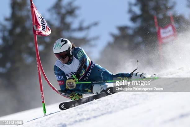 Bridger Gile of USA in action during the Audi FIS Alpine Ski World Cup Men's Giant Slalom on February 28, 2021 in Bansko Bulgaria.