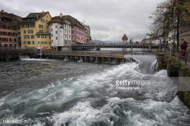 bridges across reuss river in lucerne. - emreturanphoto stock pictures, royalty-free photos & images