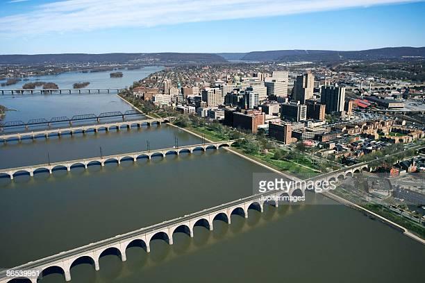 bridges across river in harrisburg, pennsylvania - harrisburg pennsylvania stock pictures, royalty-free photos & images