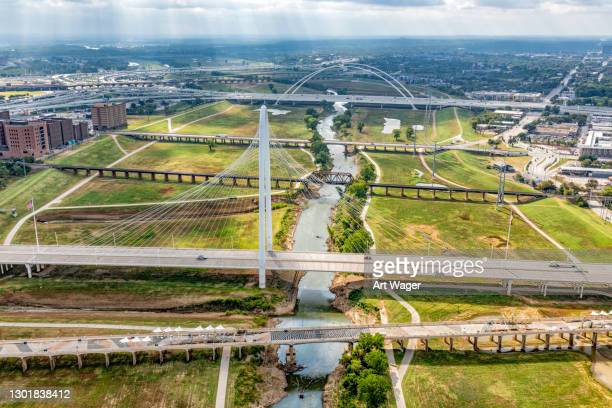 bridges crossing the trinity river - trinity river texas stock pictures, royalty-free photos & images