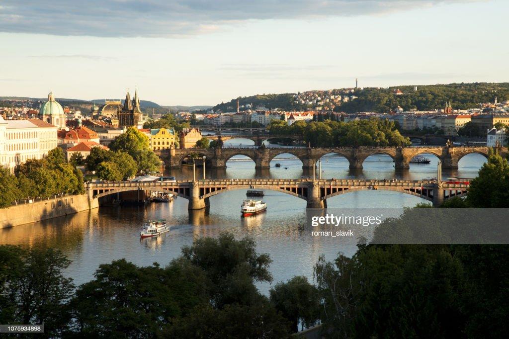 Bridges of Prague over Vltava River, Scenic View from Letna : Stock Photo