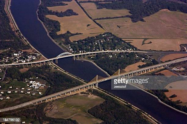 bridges on the chesapeake & delaware canal - zeesstof stock pictures, royalty-free photos & images