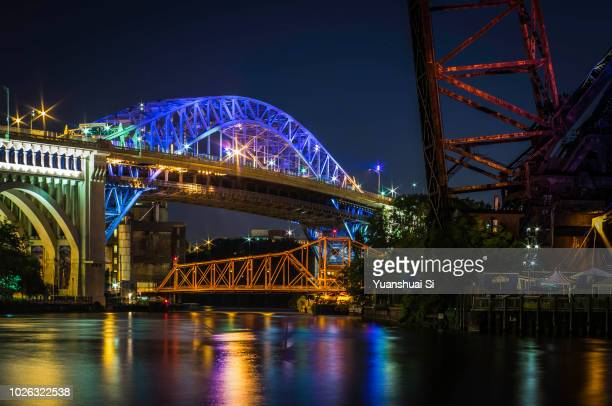 bridges over the cuyahoga river - cleveland ohio stock pictures, royalty-free photos & images