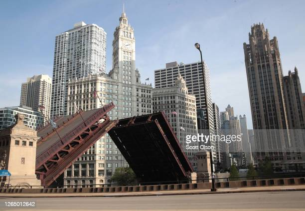 Bridges that lead into the city were raised to limit access after widespread looting and vandalism took place, on August 10, 2020 in Chicago,...