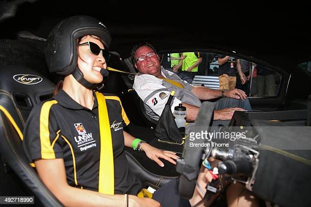 Bridgestone ambassador Shane Jacobson poses inside the UNSW Solar Racing Team Sunswift during the 2015 Bridgestone World Solar Challenge at Darwin...