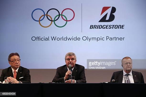 Bridgestone CEO Masaaki Tsuya President of International Olympics Committee Thomas Bach Vice President of International Olympic Comitee John Coates...