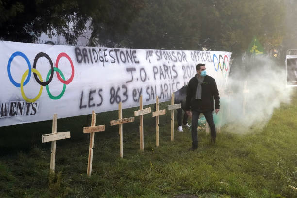 FRA: Demonstration Against The Closing Of The Bridgestone Factory In Bethune