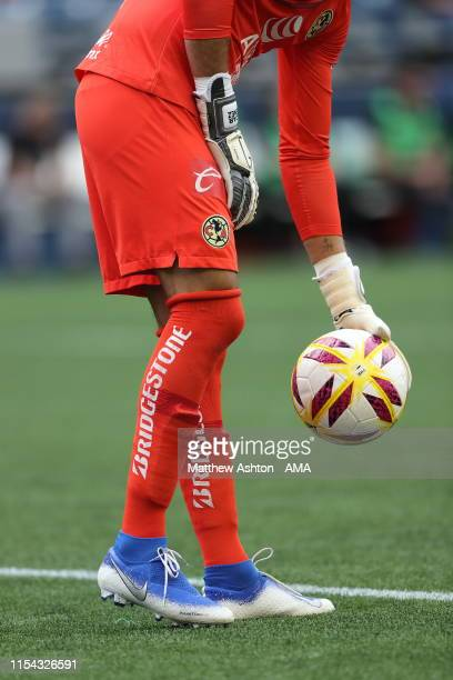 Bridgestone sponsor on the socks of goalkeeper Oscar Jimenez of Club America during a friendly match between Club America and River Plate as part of...
