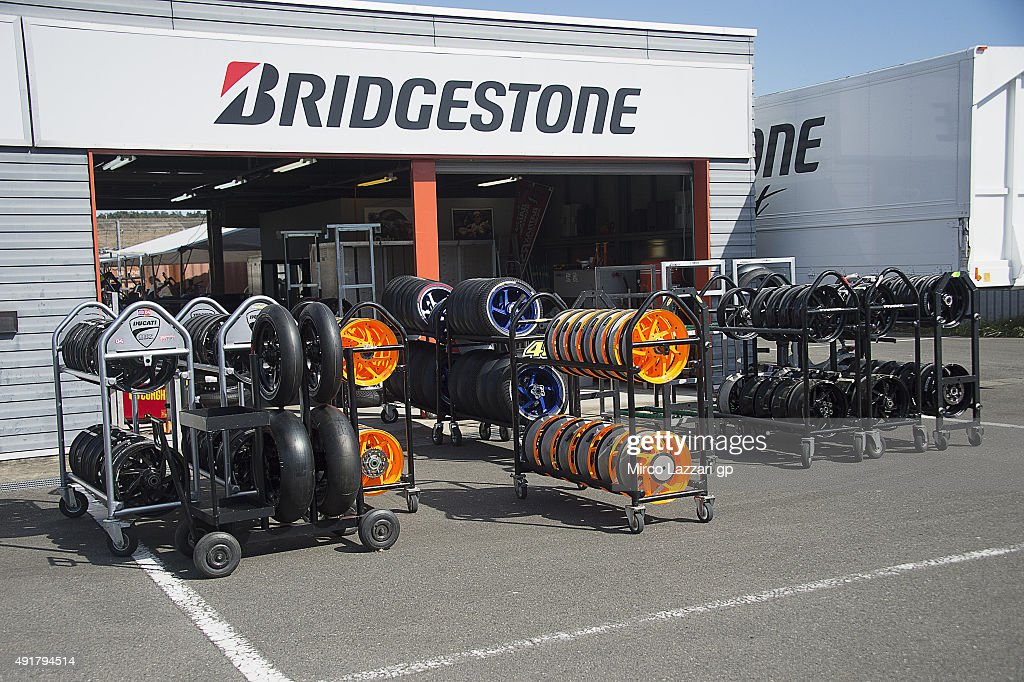 Bridgestone tyres service in paddock during the MotoGP Of Japan - Previews at Twin Ring Motegi on October 8, 2015 in Motegi, Japan.