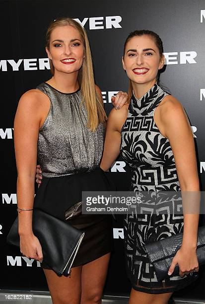 Bridget Abbott and Frances Abbott arrive at the Myer Autumn/Winter 2013 collections launch at Mural Hall at Myer on February 28 2013 in Melbourne...