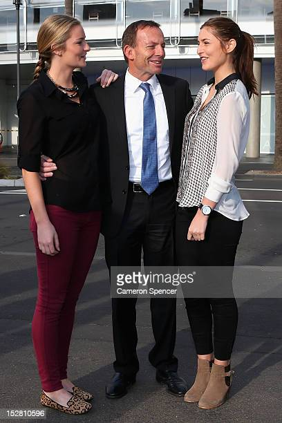 Bridget Abbott daughter of Federal Oposition leader Tony Abbott and his daughter Frances Abbott attend the 2012 NRL Grand Final breakfast at Doltone...