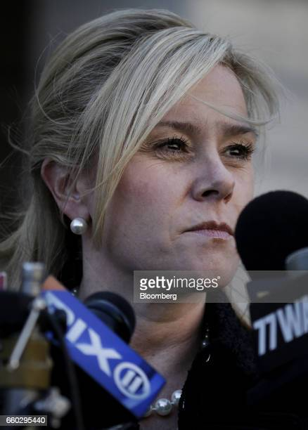 Bridget Anne Kelly former deputy chief of staff for New Jersey Governor Chris Christie speaks to members of the media outside federal court after...