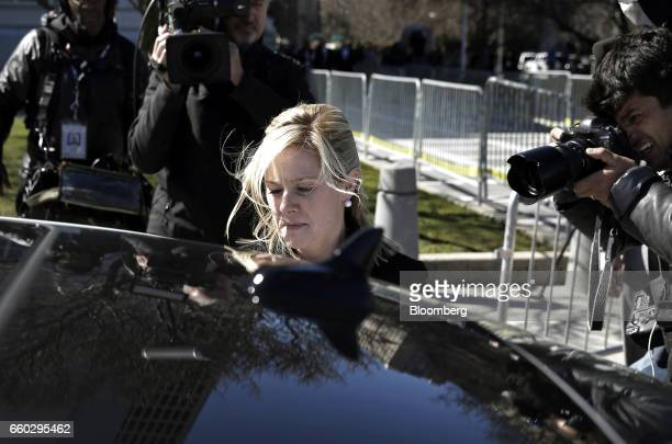 Bridget Anne Kelly former deputy chief of staff for New Jersey Governor Chris Christie exits federal court after sentencing in Newark New Jersey US...