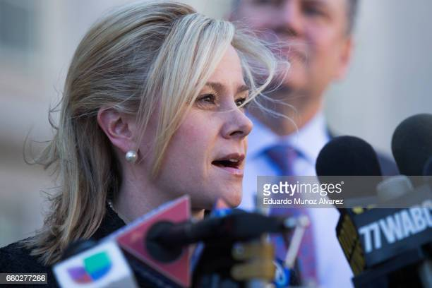 Bridget Anne Kelly former deputy chief of staff to New Jersey Gov Chris Christie speaks to the media outside the Martin Luther King Jr Federal...