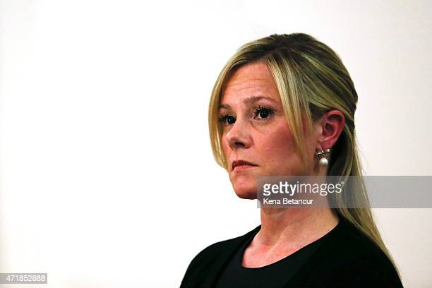 Bridget Anne Kelly Governor Christie's former deputy chief of staff listens as her attorney Michael Critchley speaks at a press conference at the...