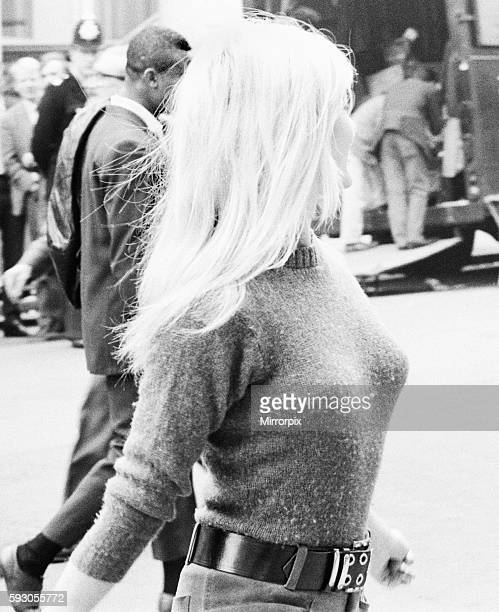 """Bridget Bardot, French actress seen here during a break in filming for """"Two Weeks in September"""" outside the Windsor Hotel, Lancaster Gate, London...."""