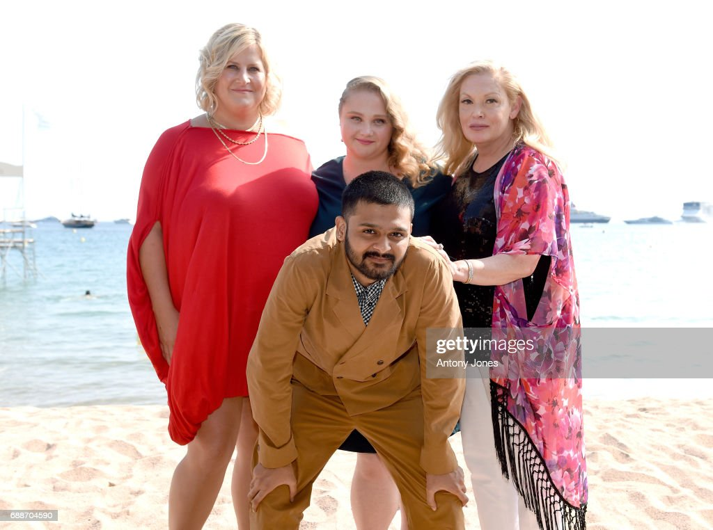 Bridget Everett, Danielle Macdonald, Cathy Moriarty, and (front) Siddharth Dhananjay attend the 'Patti Cake$' Photocall during the 70th annual Cannes Film Festival at Palais des Festivals on May 26, 2017 in Cannes, France.
