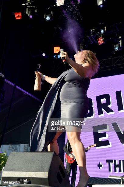 Bridget Everett performs on the Colossal Stage during Clusterfest at Civic Center Plaza and The Bill Graham Civic Auditorium on June 2, 2018 in San...