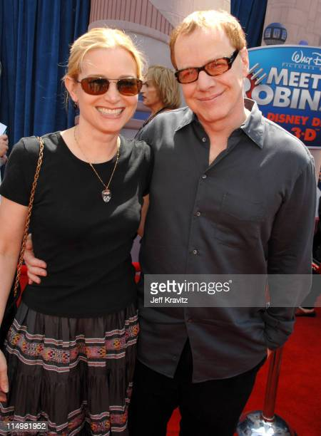 """Bridget Fonda and Danny Elfman, composer during """"Meet The Robinsons"""" Los Angeles Premiere - Red Carpet at El Capitan Theatre in Hollywood,..."""