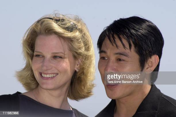Bridget Fonda Jet Li during Cannes 2001 Kiss of the Dragon Photo Call in Cannes France