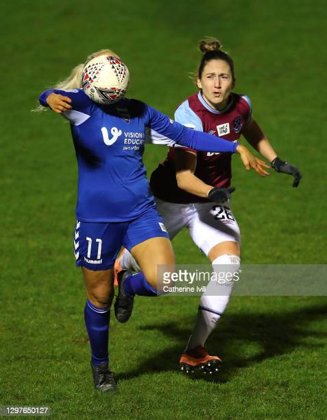 Bridget Galloway of Durham controls the ball as she is challenged by Laura Vetterlein of West Ham United during the FA Women's Continental League Cup...